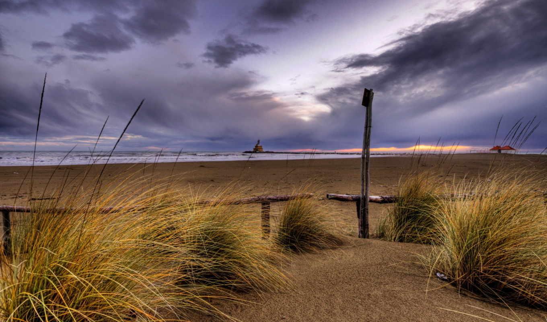небо, песок, пасмурно, вечер, пляж, закат, пейзаж, природа,
