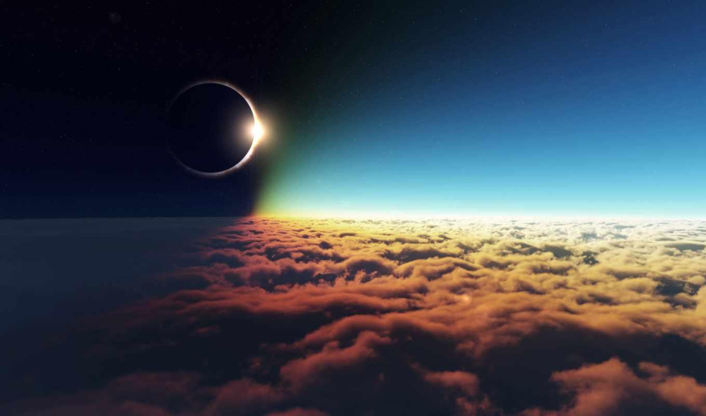 sky, stars, sun, night, eclipse, moon, clouds,