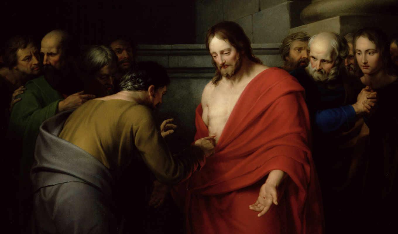 томас, неверующий, jesus, воскрес, живопись, красная, мантия, christ, апостолы, раненый,
