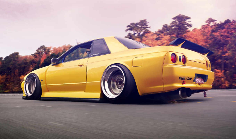 машина, желтая, дорога,небо