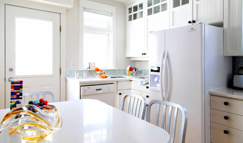 kitchen, интерьер, мебель, комната, design, white, за, кухни, столом, холодильник,