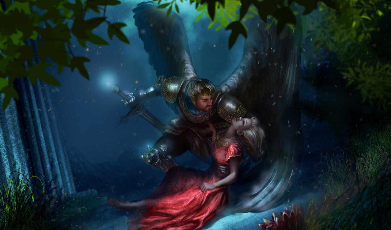 фэнтези, лес, рыцарь, king, меч, сумерки, крылья, убийство, queen,
