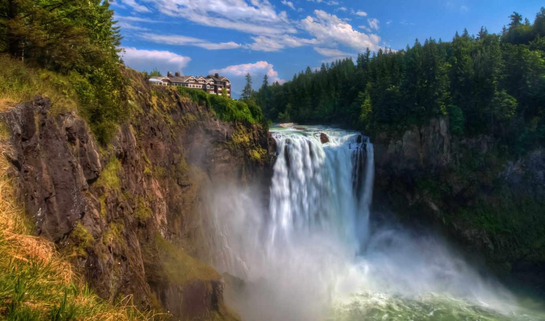 водопад, обрыв, широкоформатные, web, pack,