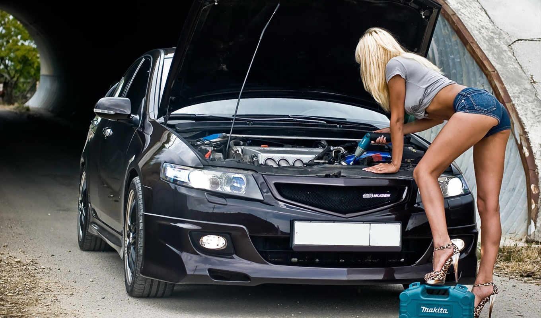 blonde, девушка, шортах, ремонт, honda, accord, авто, devushki, дрель, машины,
