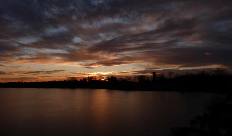 небо, облака, река, лед, закат,