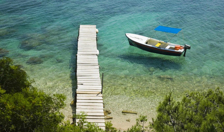 ,лодка, море, пирс,