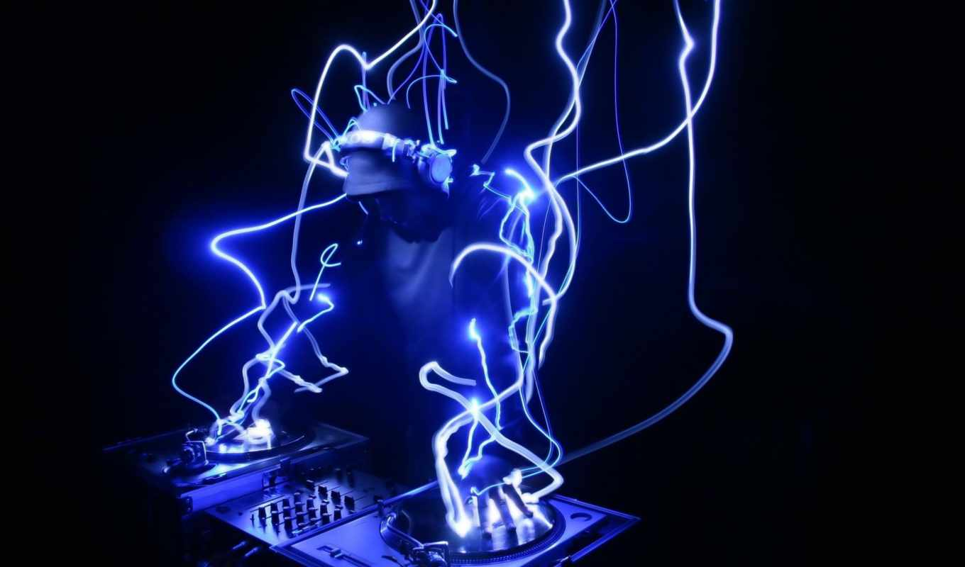dj, speakers, blue, console, lighting, dark