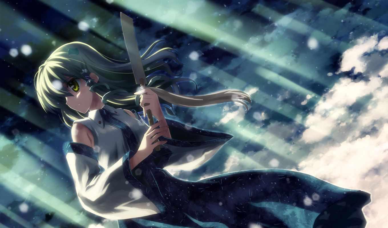 touhou, аниме, sanae, divine, xl, kochiya, embodiment, wind, картинку, картинка, page,