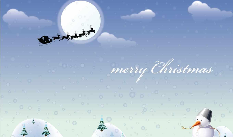 christmas, santa, town, coming, desktop, card, design,