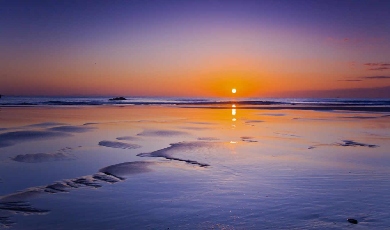 море, сияние, закат, диск,