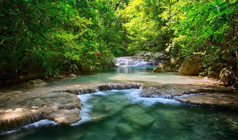водопады, тайланд, водопад, зелень, reka, деревя, листья,