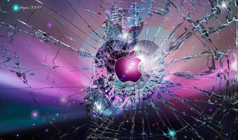 apple, лого, стекло, битый, осколки, трещины