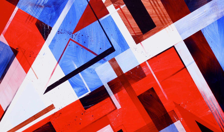 blue, red, kubizm, картинка