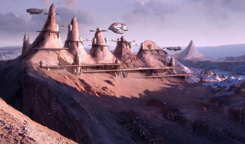 area, fantasy, city, futuristic, горы, небо, корабли, scifi, landschaft, песок, mountains, desktop,