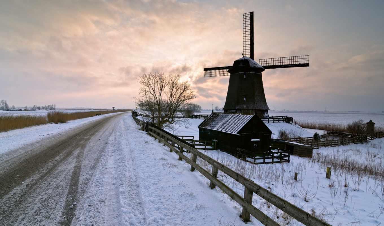 мельница, дорога, зима, пейзаж, закат,