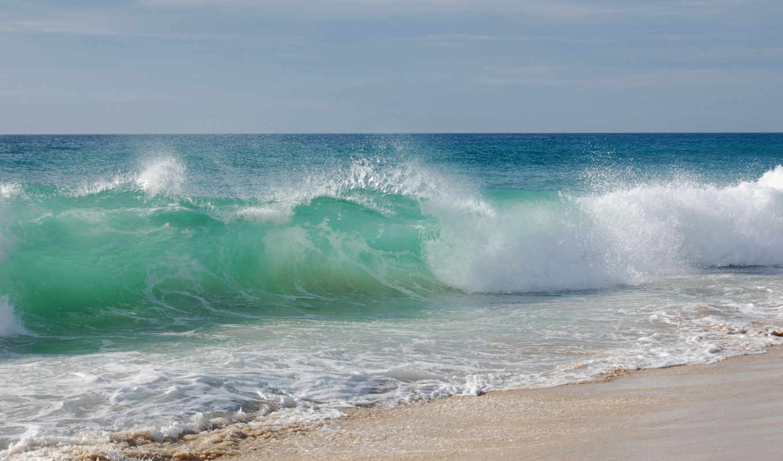 море, волны, landscape, пляж, волна, песок, water, небо, природа,