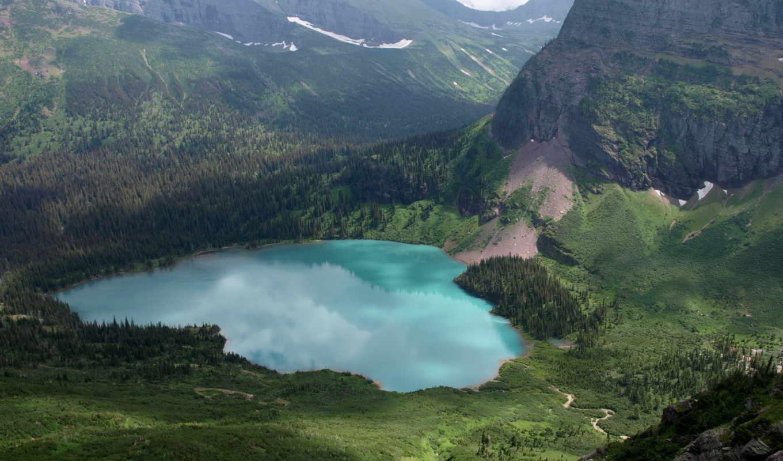 ozero, горы, вид, сверху, les, долина, скалы, пейзаж, панорама,