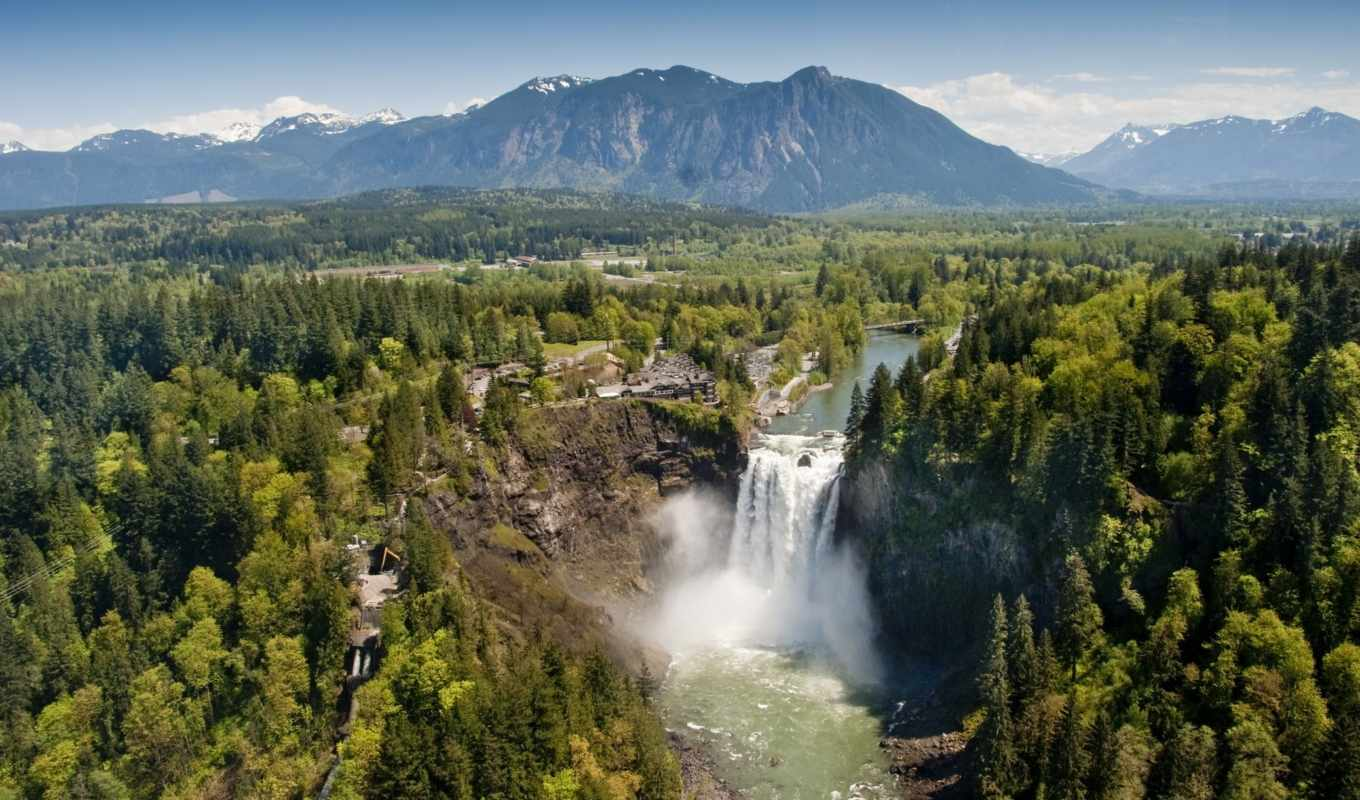 washington, state, usa, snoqualmie, водопад,
