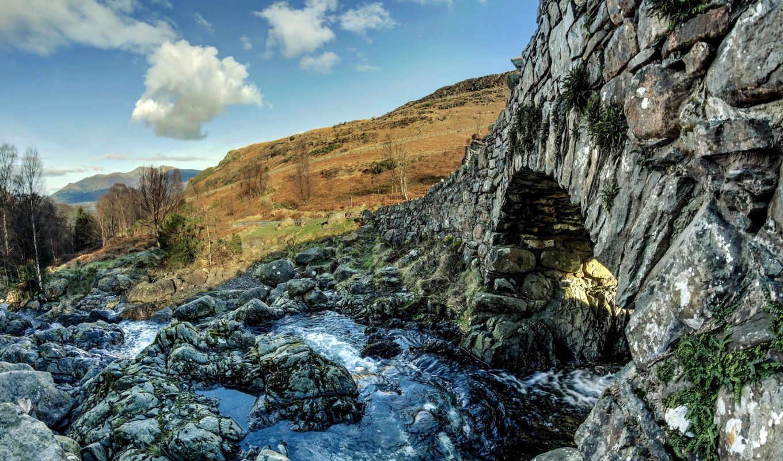 гора, скалистый, mountains, ручей, фон, природа, мост, камень,