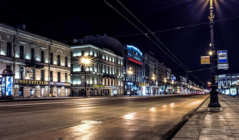 санкт, петербург, россия, улица, города, ночь, ночные,