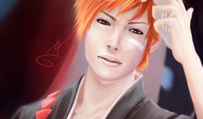 ичиго, bleach, маска, kurosaki, art,