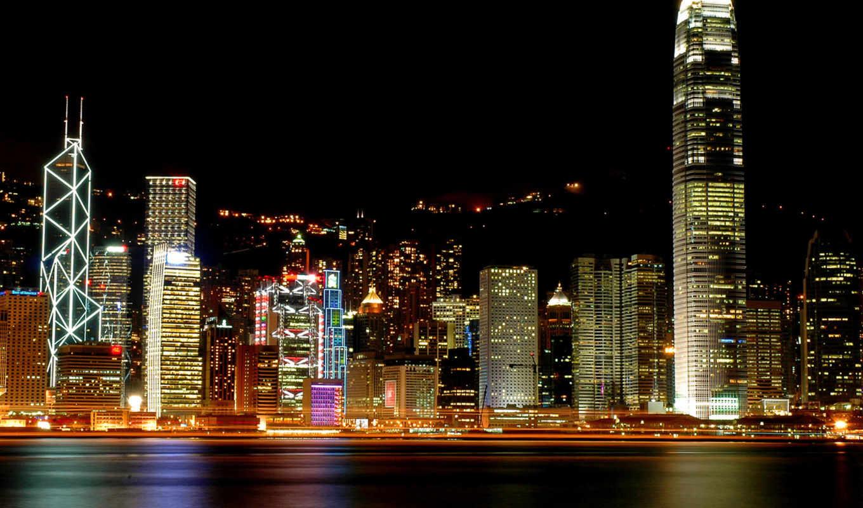hong, kong, china, высоки, ночь, city,