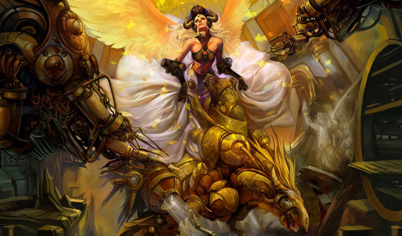 фентези, девушка, крылья, wei, chen, птица, механика, богиня, мира, игры, девушки, fantasy, компьютерные, игровые, персонажи,