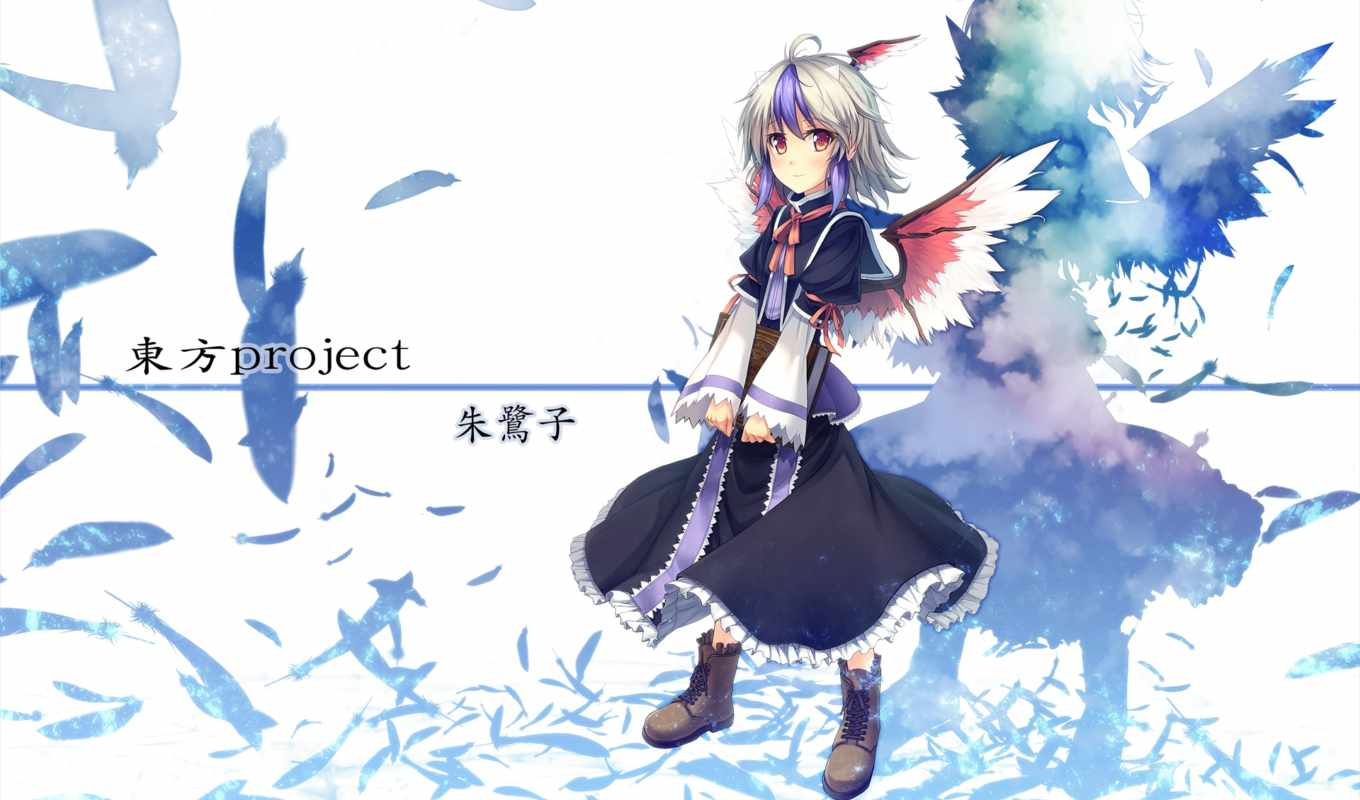 hair, touhou, anime, tokiko, feathers, boots, manga, white,