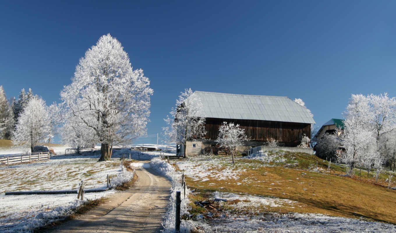зима, дорога, небо, голубое, домики, красивые, snow, lodge, домик, картинка,