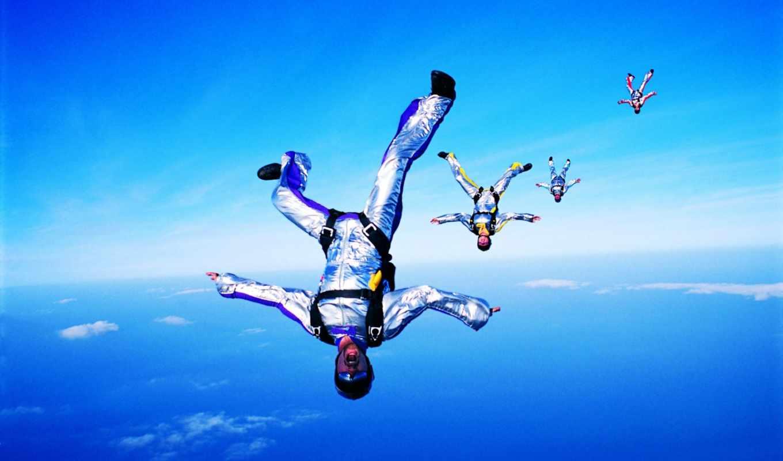 , парашютисты, прыжок, небо, падение,