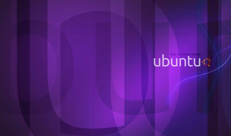 ubuntu, linux, фон, фиолетовый, лого