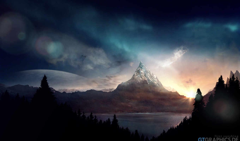 закат, горы, луна, ночь, лес, одинокая, гора, landscape,