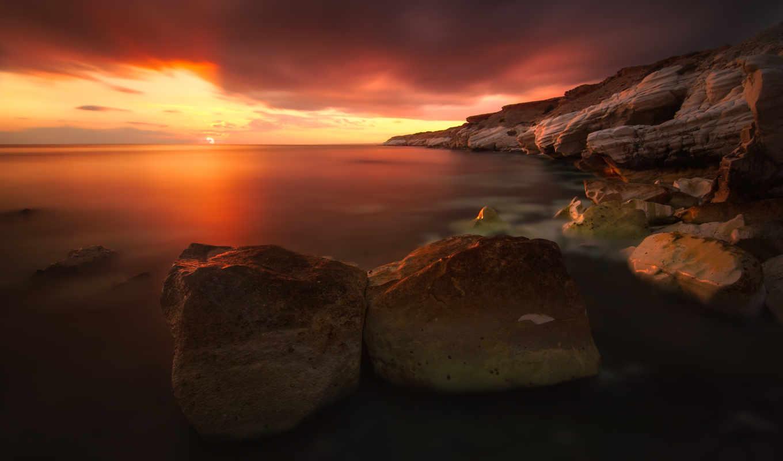 ecran, fond, paysage, fonds, ciel, природа, soleil, coucher, arc,