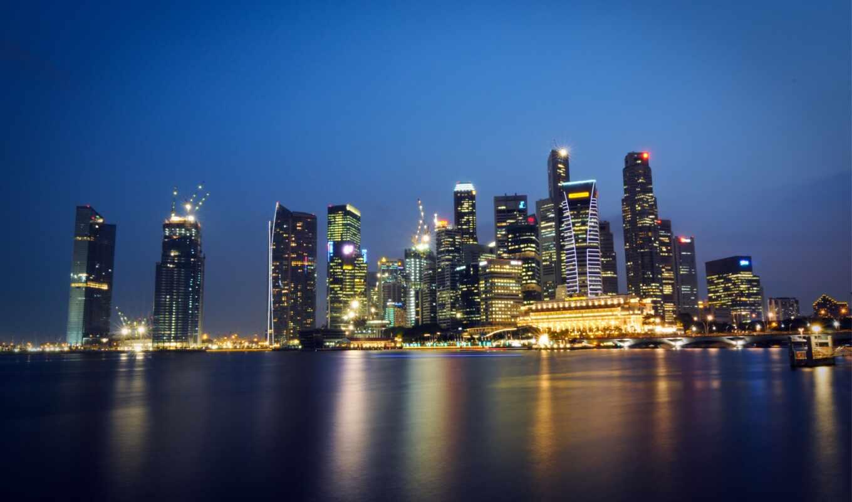 singapore, город, bay, марина, malaysia, ночь, небоскрёба, мегаполис, shutterstock, огонь