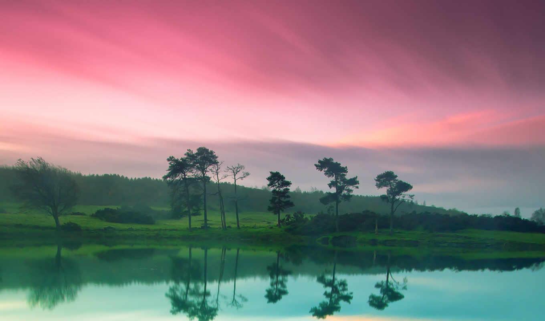 природа, небо, река, берег, зелёный, розовое, картинка,