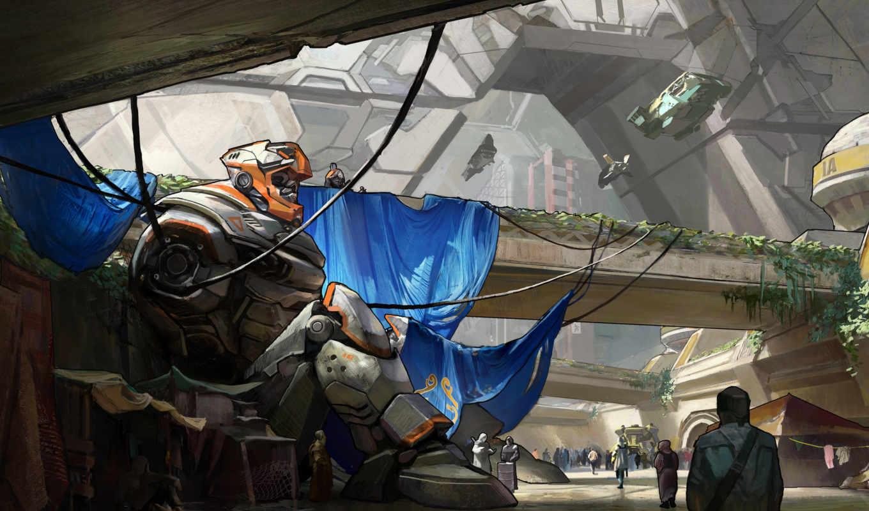 art, робот, город, машины, мост,