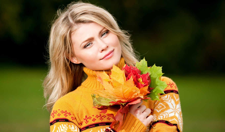 осень, девушка, заставки, sweater, листья, взгляд,
