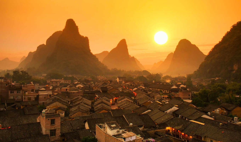 china, town, старинный, азия, zhaop, sun