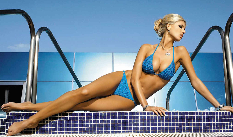 petra, cubonova, купальник, девушки, swimwear, bikini, девушка, бассейн, блондинка,