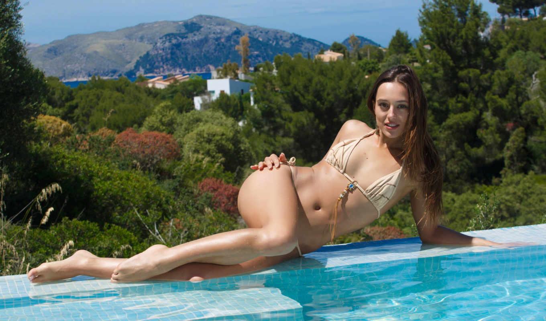 девушка, вода, бассейн, купальник, браслеты