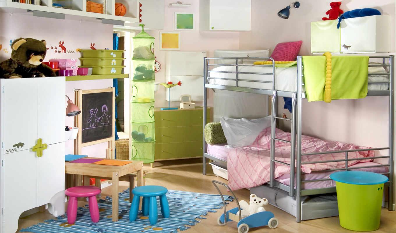 детей, комнаты, детской, комната, разнополых, детская,