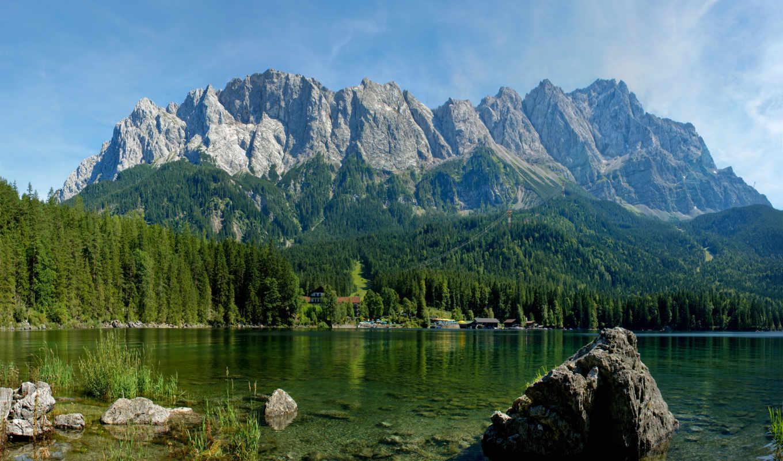 природа, горы, река, озеро, весна, леса, деревя,