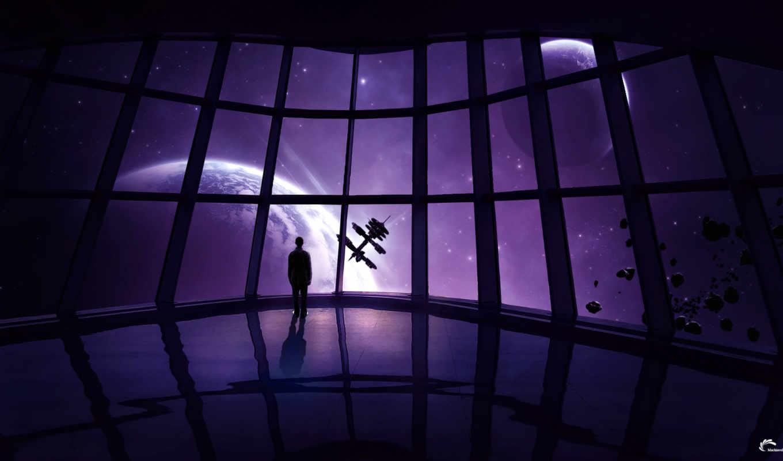 cosmos, мужчина, корабль, станция, планеты, звезды,
