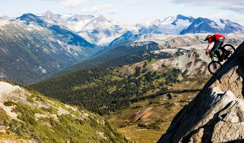 велосипед, спуск, горы, лес, высота, райдер, байк, картинка,
