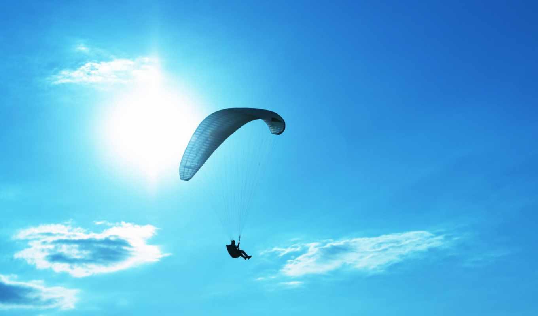 парашют, небо, парень, солнце, спорт, человек,