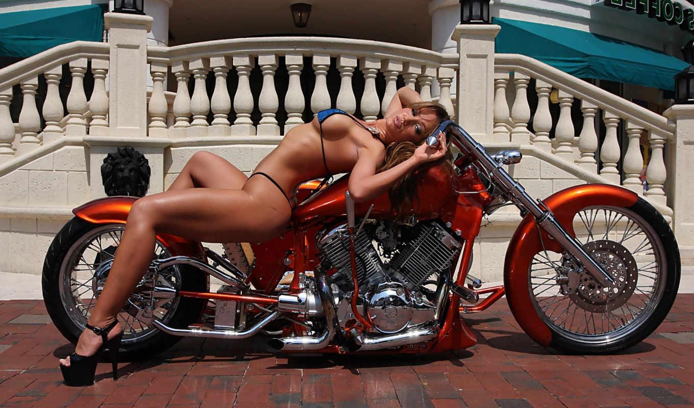 мотоцикл,девушка,купальник,особняк,