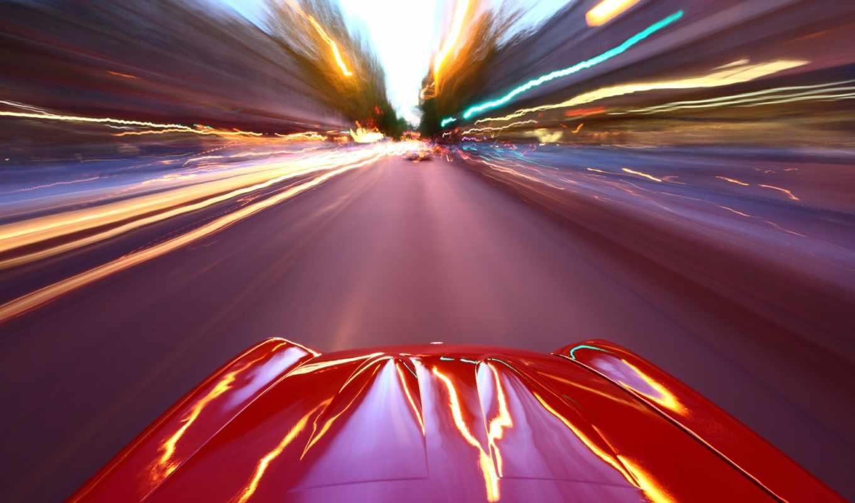 дорога, скорость, gorod, avto, огни, машина,
