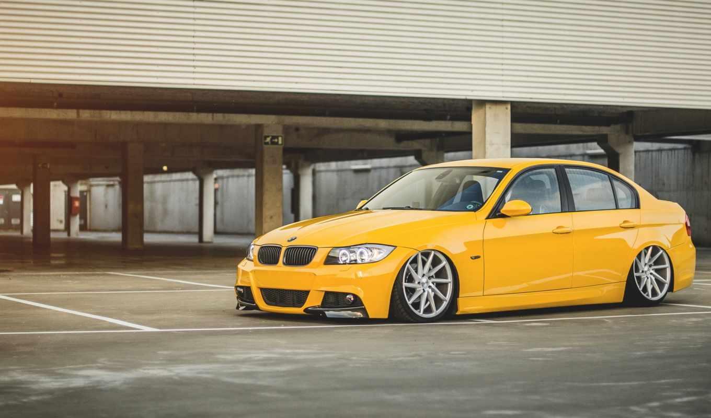 bmw, бмв, stance, серия, желтая, yellow, парковка,