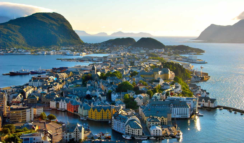 норвегия, олесунн, город, alesund,