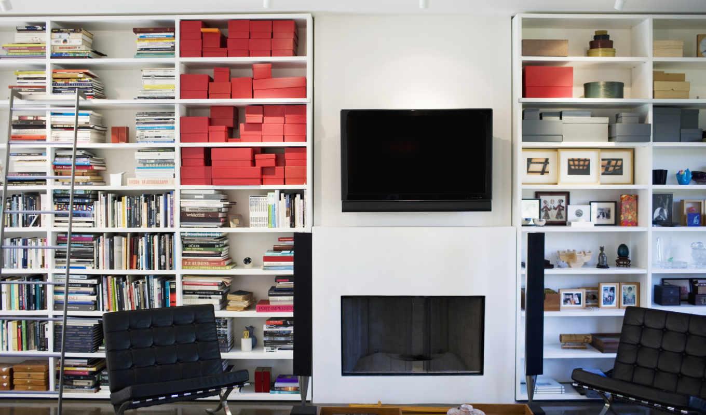 книги, телевизор, колонки, кресло, interer, dizain,